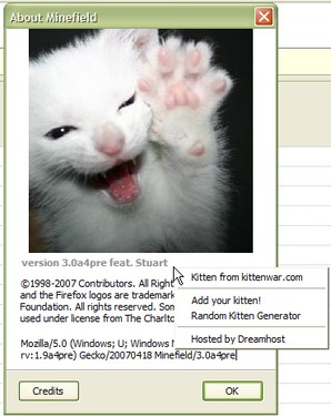 Interface about:kittens