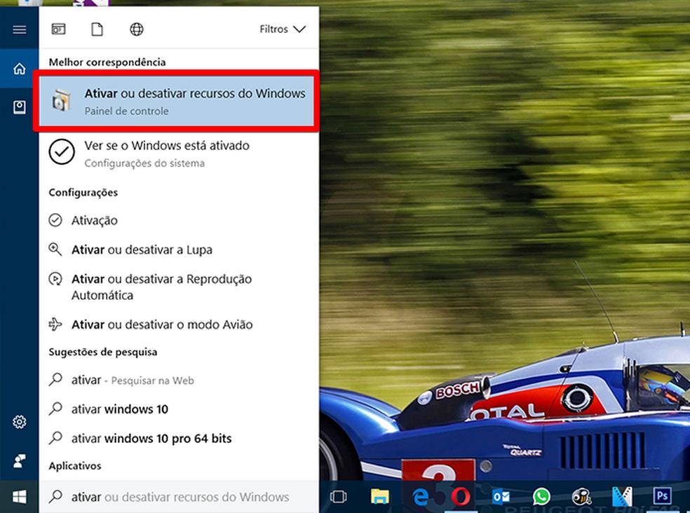 Localize e abra a interface de controle de recursos opcionais do Windows (Foto: Reprodução/Filipe Garrett)