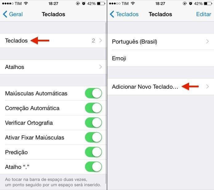 Configurando teclado do iOS 8 (Foto: Reprodução/Helito Bijora)