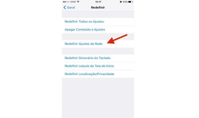 Clique em Redefinir Ajustes de Rede (Foto: Gabriella Fiszman/ TechTudo)