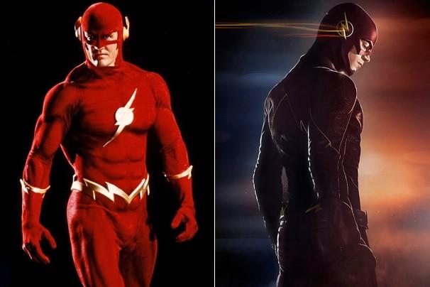 O Flash em 1990 (John Wesley Shipp) e, 25 anos depois, em 2015 (Grant Gustin) (Foto: Divulgação)