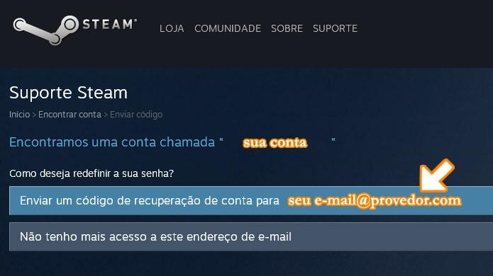 Peça para o Steam enviar um código de recuperação para seu e-mail (Foto: Reprodução/Rafael Monteiro)