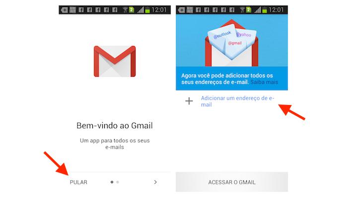 Iniciando o processo para adicionar um endereço no Gmail no aplicativo para Android (Foto: Reprodução/Marvin Costa)