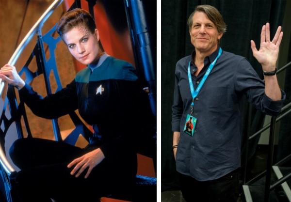 A atriz Terry Farrell na série Star Trek e o diretor de TV Adam Nimoy, filho de Leonard Nimoy (Foto: Reprodução/Getty Images)