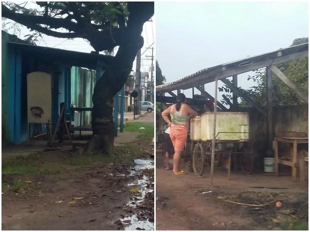 Flagra de ambulantes construindo estruturas nas calçadas da Rua Paraná, no Santa Rita (Foto: Jéssica Alves/G1)