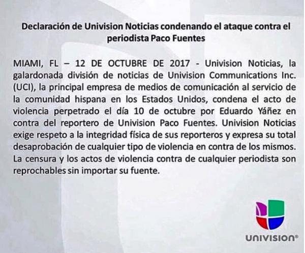 A declaração da rede de TV Univision condenando a agressão ao seu repórter (Foto: Instagram)