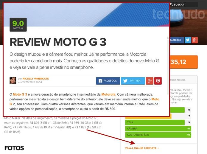 Em 'veja análise completa' leia o review e saiba se vale a pena comprar o celular (Foto: Reprodução/TechTudo)