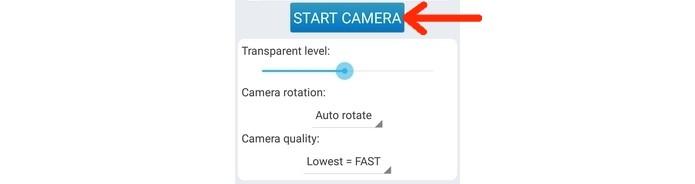 Seta destaca botão Start camera (Foto: Reprodução/ Raquel Freire)