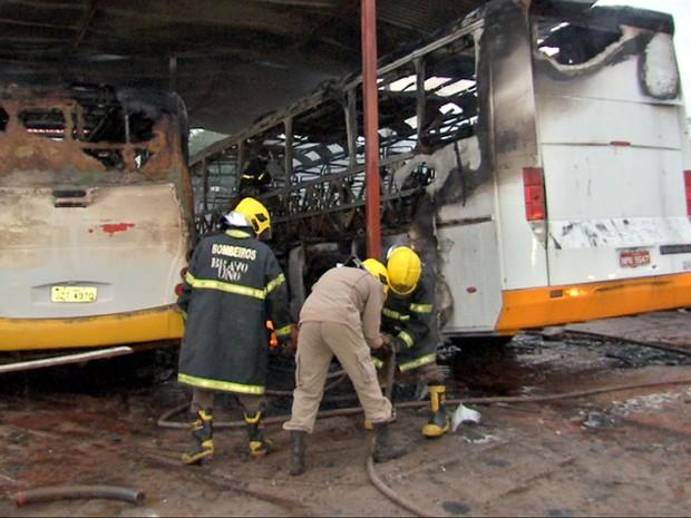 Incêndio destruiu 3 ônibus escolares dentro de garagem em Várzea Grande (Foto: Reprodução/TVCA)