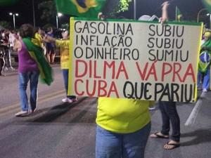 Manifestante leva cartaz para denúncia a crise política e econômica do país (Foto: Shade Andreia / G1)