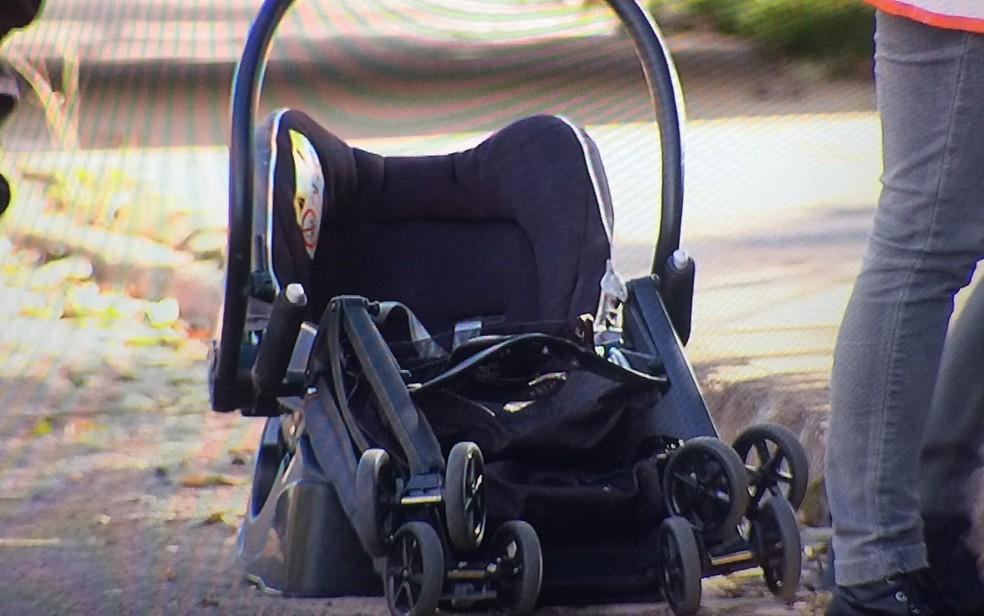 Bebê de 6 meses estava dentro do carro, mas não se feriu, em Aparecida de Goiânia, Goiás (Foto: Reprodução/ TV Anhanguera)