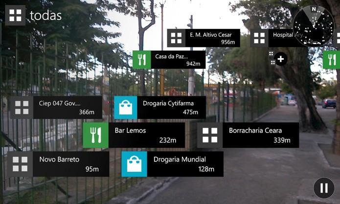 Here City Lens para Windows Phone 8 exibe nome de estabelecimentos próximos separados pelo tipo (Foto: Reprodução/Elson de Souza)