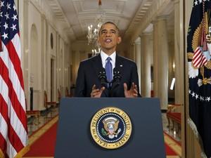 Obama durante pronunciamento na Casa Branca na noite desta quinta-feira (20) (Foto: Jim Bourg/Reuters)