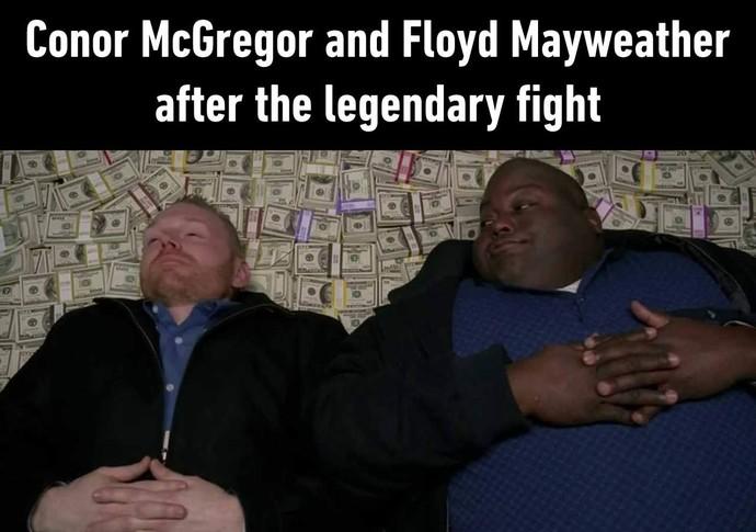 """Mayweather e Conor após luta? O site """"9gag"""" lançou a brincadeira (Foto: Reprodução 9gag)"""