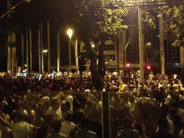 Protesto em Goiânia (Foto: Gabriela Lima/G1)