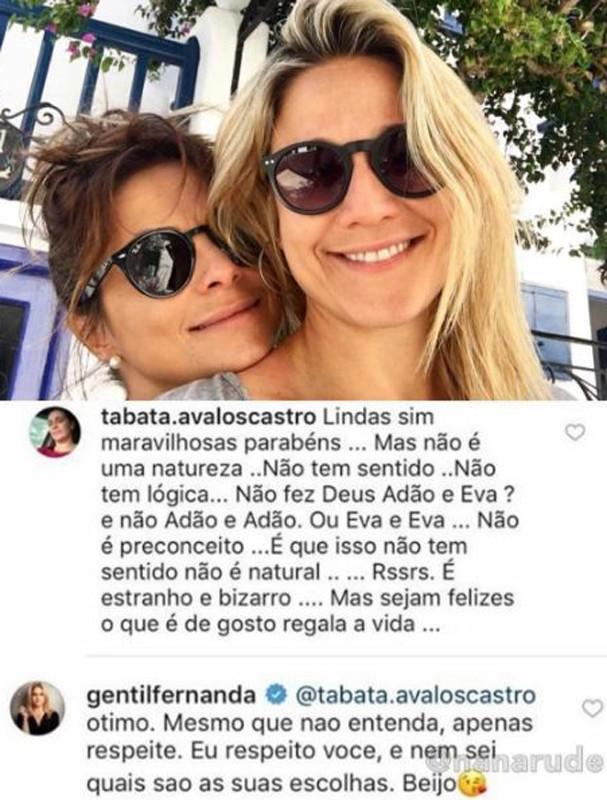 Gentil rebateu comentários (Foto: Reprodução/Instagram)