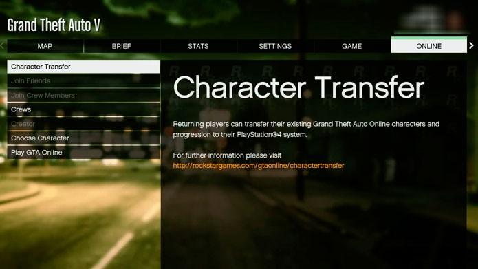 Selecione Character Transfer para transferir o personagem (Foto:Youtube)