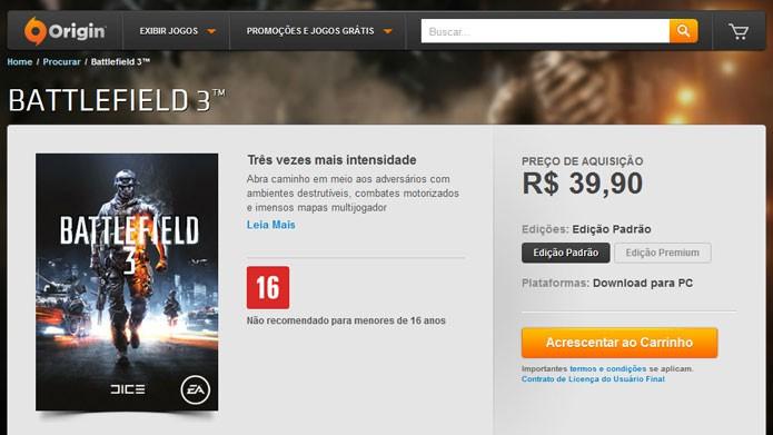 No Origin, abra a página do Battlefield 3 e clique em Acrescentar ao Carrinho para comprar o game (Foto: Reprodução/Tais Carvalho)