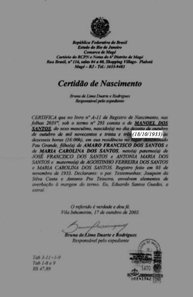 Certidão de Nascimento Garrincha (Foto: Divulgação)