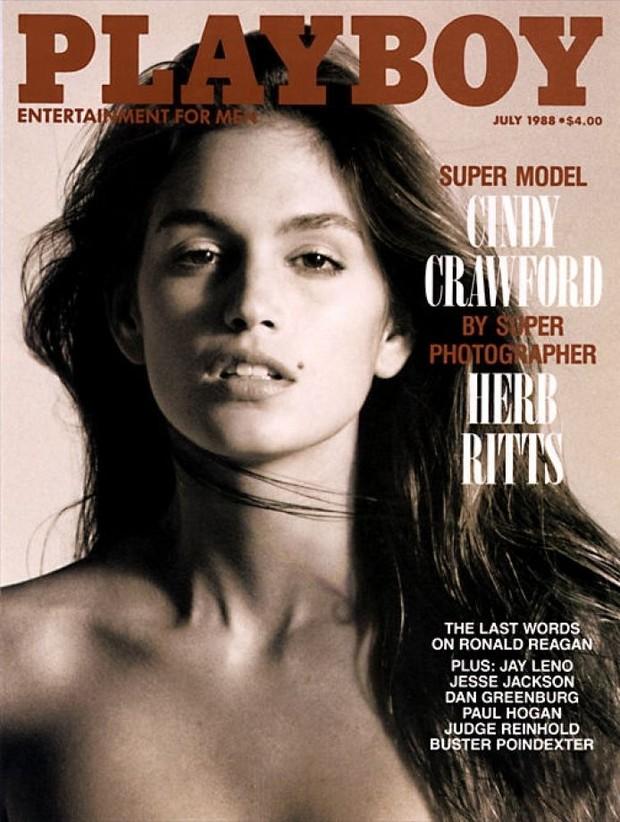 Cindy Crawford na capa da Playboy, em 1988 (Foto: Reprodução)