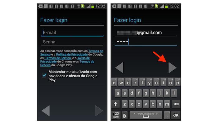 Realizando login do Gmail no Android para sincronizar o serviço com o aplicativo para celular (Foto: Reprodução/Marvin Costa)