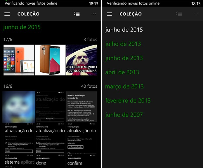 Windows 10 ganhou novos atalhos na galeria do telefone para ajudar localizar fotos (Foto: Reprodução/Elson de Souza)