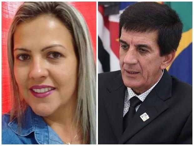 Conselheira tutelar e o prefeito de Sarapuí (Foto: Arquivo Pessoal/ Isabel Souza e Reprodução/ Facebook)