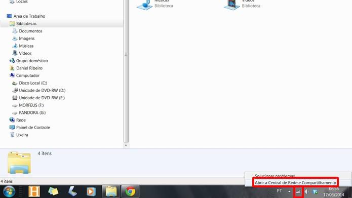 Clique com o botão direito do mouse sobre o ícone da conexão e selecione a opção em destaque (Foto: Reprodução/Daniel Ribeiro)