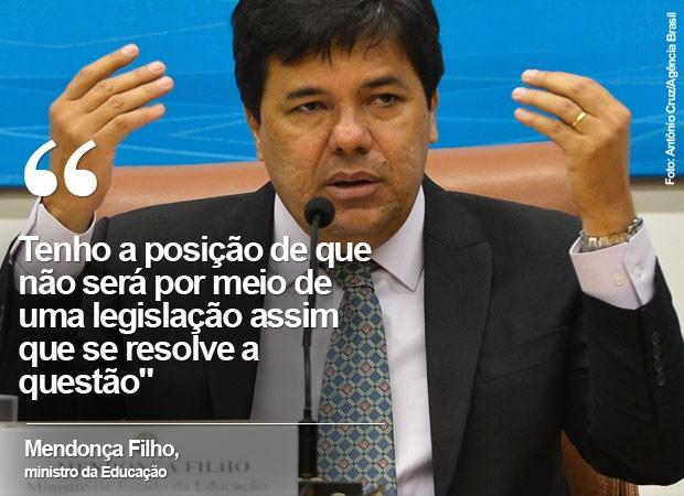 O ministro Mendonça Filho falou ao G1 sobre o 'Escola sem Partido' (Foto: Antonio Cruz/Agência Brasil)
