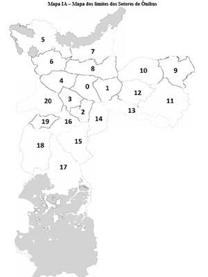 Cidade foi dividida em 20 setores para distribuição das linhas de ônibus (Foto: Reprodução/Diário Oficial)