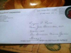 Cheque foi postado nos Estados Unidos em 27 de fevereiro (Foto: Rogerio Ruivo/Arquivo Pessoal)