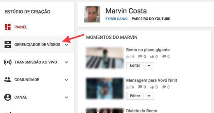 Opção para acessar o gerenciador de vídeos de um canal no YouTube (Foto: Reprodução/Marvin Costa)