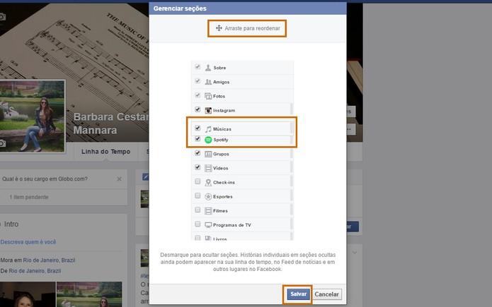 Reorganize os itens na lista de seções no Facebook (Foto: Reprodução/Barbara Mannara)