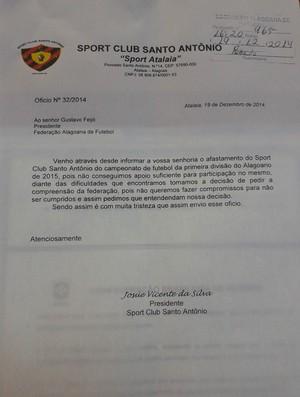 Sport Atalaia oficializa desistência do Campeonato Alagoano 2015 (Foto: Divulgação / FAF)