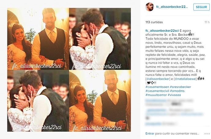 alisson goleiro inter casamento (Foto: Reprodução/Instagram)