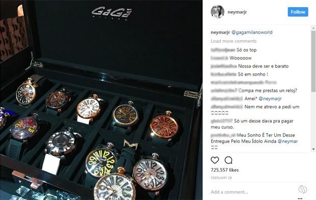 Neymar compartilha seu amor pelos acessórios nas redes sociais (Foto: Reprodução/Instagram)