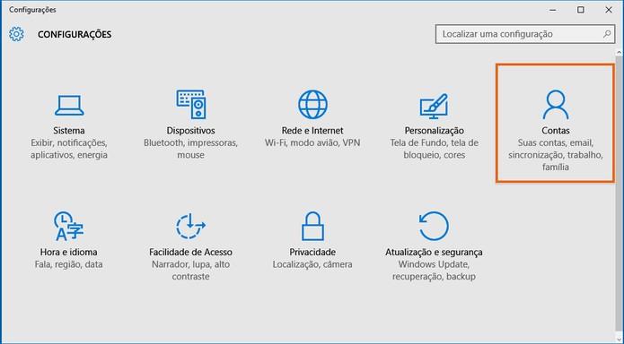 Clique no menu do Contas nas configurações do Windows 10 (Foto: Reprodução/Barbara Mannara)
