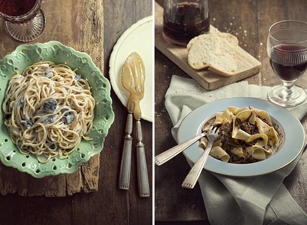 Spaghetti diovaletti ao molho besciamella com cogumelos: a massa é sovada com uma dose de pimenta dedo-de-moça    Pappardelle com carne de panela: comida de mamma (Foto: Cacá Bratke/ Editora Globo)