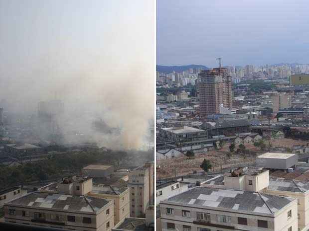 Fotos comparam a área ao lado do terreno da favela no dia do incêndio e dias após, quando área foi desmatada (Foto: Carol Lefèvre/Divulgação)