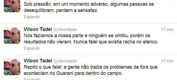 Vilson Tadei, técnico do Guarani, usa o Twitter para rebater críticas (Foto: Reprodução/Twitter)