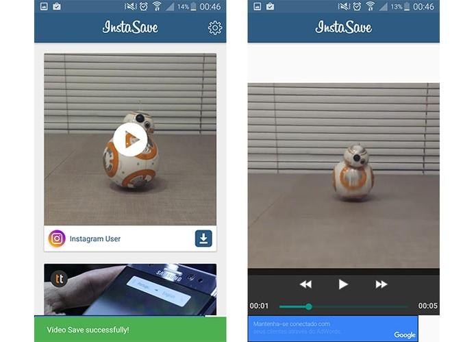 Aplicativo InstaSave permite fazer download de fotos e vídeos do Instagram (Foto: Reprodução/Barbara Mannara) (Foto: Aplicativo InstaSave permite fazer download de fotos e vídeos do Instagram (Foto: Reprodução/Barbara Mannara))