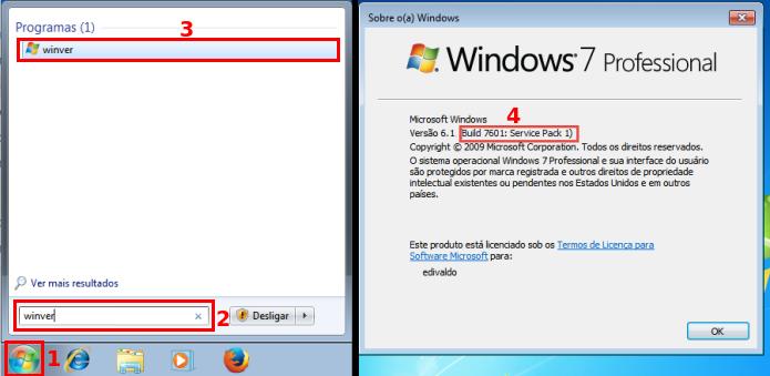Verificando se o Windows 7 já tem o SP1 (Foto: Reprodução/Edivaldo Brito)