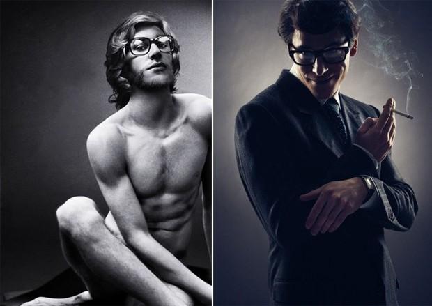 Gaspard Ulliel nos dois cliques em poses emblemáticas de Yves Saint Laurent  (Foto: Reprodução)