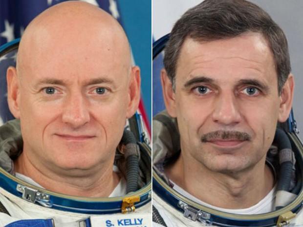 Foto mostra o astronauta americano Scott Kelly (esq.) e o cosmonauta russo Mikhail Kornienko: eles passaram um ano no espaço (Foto: AP Photo/Gagarin Cosmonaut Training Center via NASA)