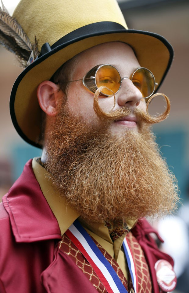 Jeffrey Moustache ficou em segundo lugar na categoria barba à Verdi (Foto: Susan Poag/AP)