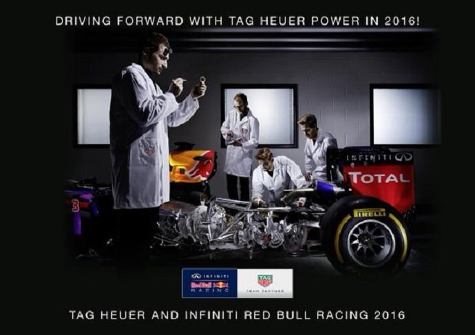 Anúncio de RBR e TAG Heuer brinca com engrenagens de relógio no lugar de motor (Foto: Divulgação)
