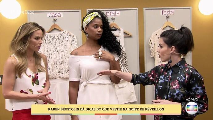 Karen dá dicas do que vestir na noite de réveillon (Foto: TV Globo)