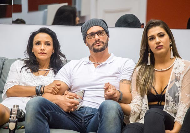 Marinalva, Daniel e Vivian antes da eliminação do brother (Foto: TV Globo)