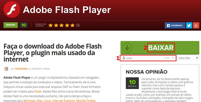 Baixando o Flash para Linux via TechTudo Downloads (Foto: Reprodução/Edivaldo Brito)