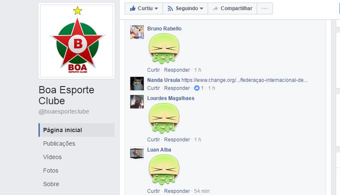 Usuários protestam na página oficial do Boa Esporte (Foto  Reprodução  Facebook) 73a7dae7ee72a